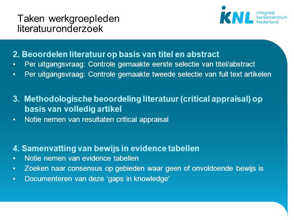 Taken werkgroepleden literatuuronderzoek 2. Beoordelen literatuur op basis van titel en abstract Per uitgangsvraag: Controle gemaakte eerste selectie
