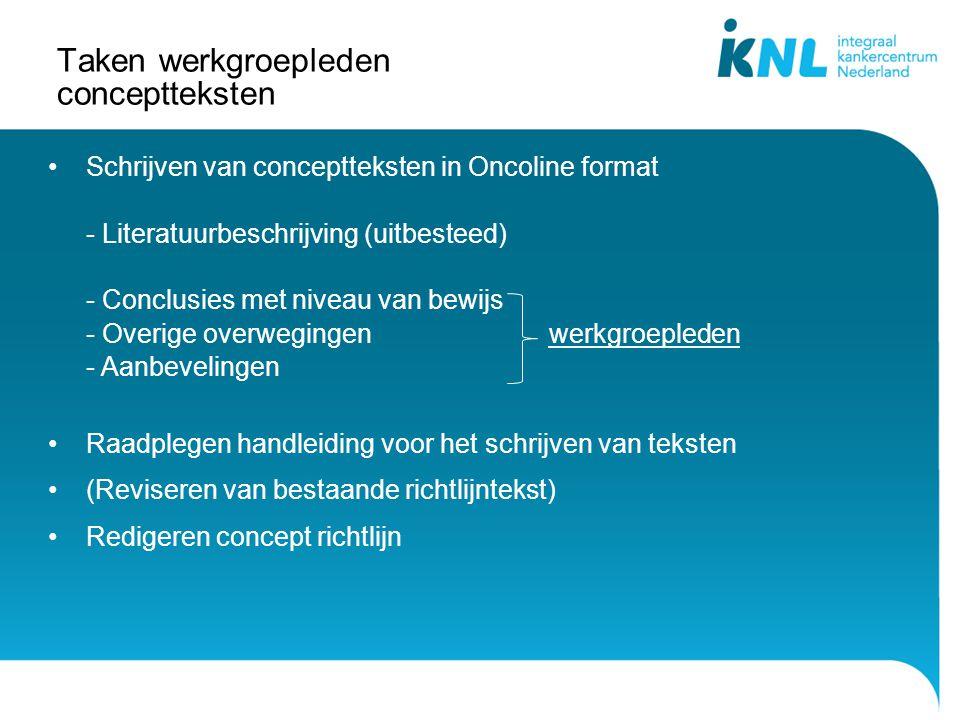 Taken werkgroepleden conceptteksten Schrijven van conceptteksten in Oncoline format - Literatuurbeschrijving (uitbesteed) - Conclusies met niveau van