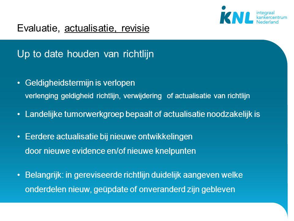 Evaluatie, actualisatie, revisie Up to date houden van richtlijn Geldigheidstermijn is verlopen verlenging geldigheid richtlijn, verwijdering of actua