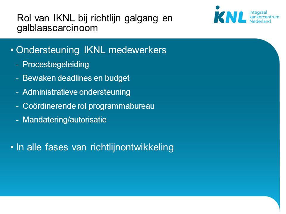Rol van IKNL bij richtlijn galgang en galblaascarcinoom Ondersteuning IKNL medewerkers - Procesbegeleiding - Bewaken deadlines en budget - Administrat