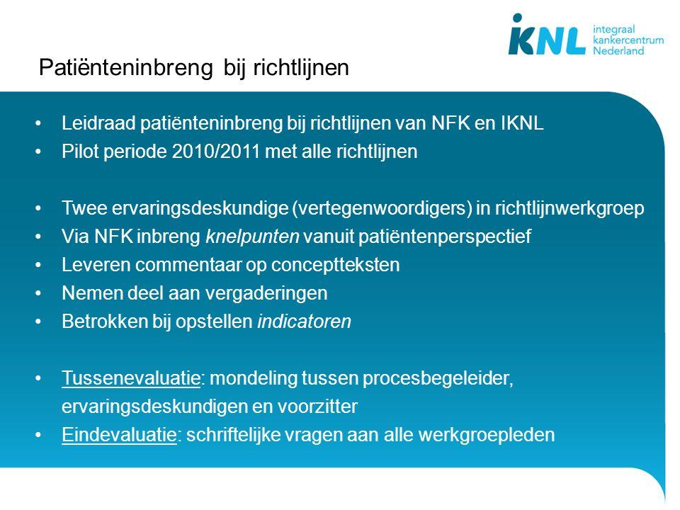 Patiënteninbreng bij richtlijnen Leidraad patiënteninbreng bij richtlijnen van NFK en IKNL Pilot periode 2010/2011 met alle richtlijnen Twee ervarings