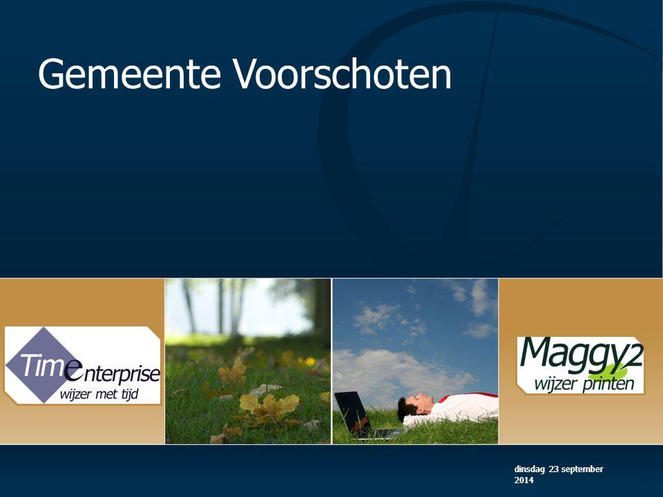 dinsdag 23 september 2014 17 dinsdag 23 september 2014 Gemeente Voorschoten