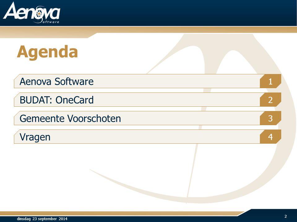 Agenda dinsdag 23 september 2014 2 Aenova Software 1 BUDAT: OneCard Gemeente Voorschoten Vragen 2 3 4