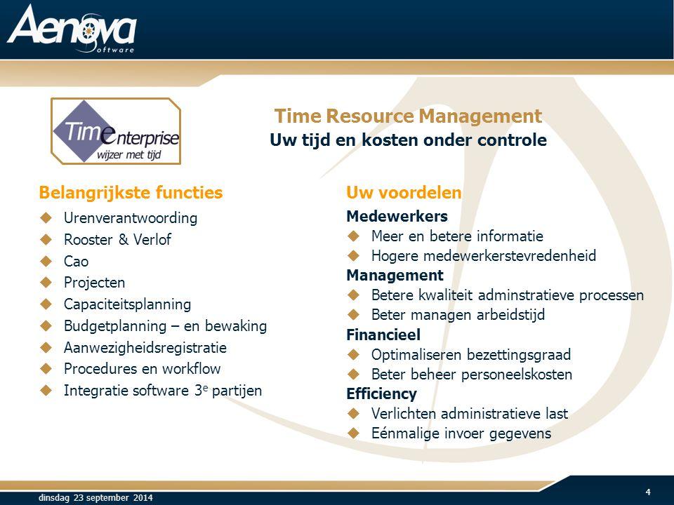 Belangrijkste functies Uw voordelen Medewerkers  Meer en betere informatie  Hogere medewerkerstevredenheid Management  Betere kwaliteit adminstrati