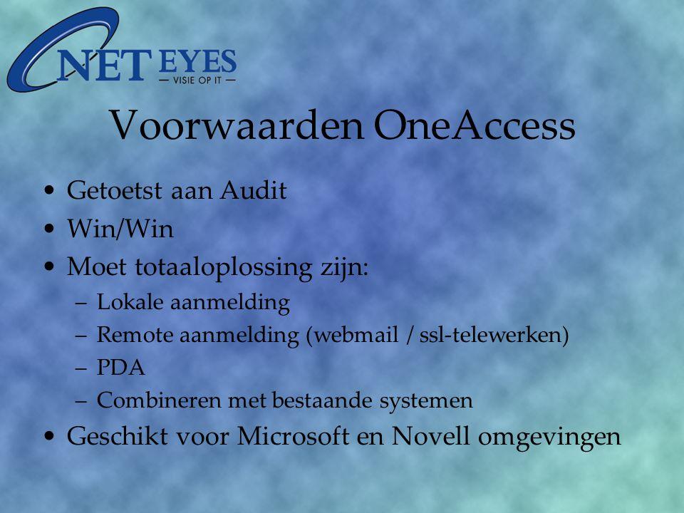 Voorwaarden OneAccess Getoetst aan Audit Win/Win Moet totaaloplossing zijn: –Lokale aanmelding –Remote aanmelding (webmail / ssl-telewerken) –PDA –Combineren met bestaande systemen Geschikt voor Microsoft en Novell omgevingen
