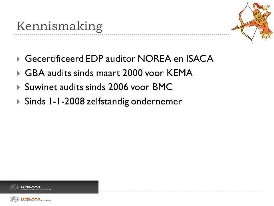 Kennismaking  Gecertificeerd EDP auditor NOREA en ISACA  GBA audits sinds maart 2000 voor KEMA  Suwinet audits sinds 2006 voor BMC  Sinds 1-1-2008