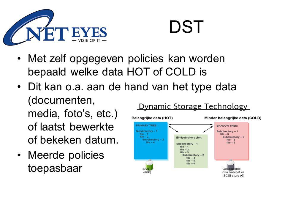 Met zelf opgegeven policies kan worden bepaald welke data HOT of COLD is Dit kan o.a.