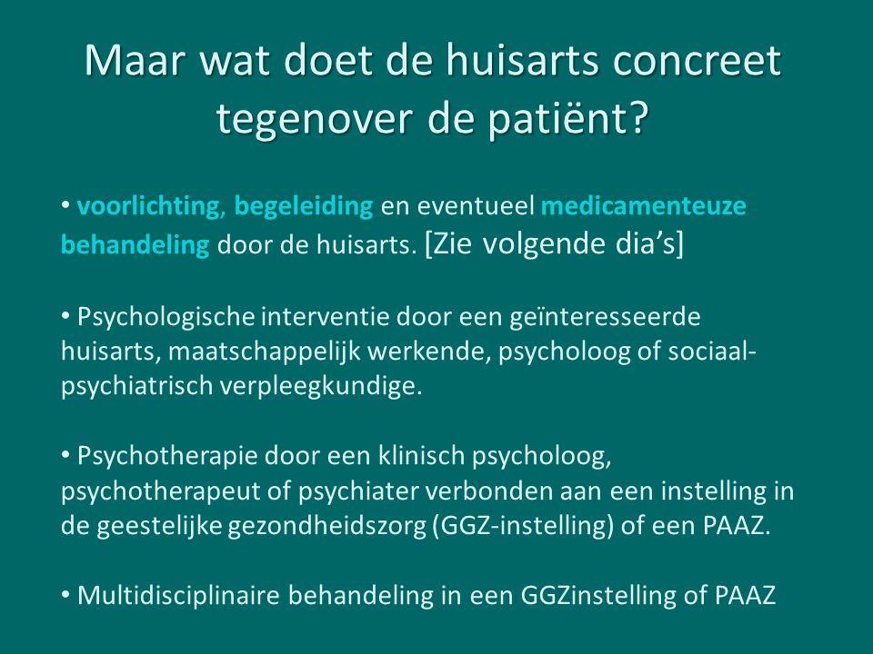 Maar wat doet de huisarts concreet tegenover de patiënt? voorlichting, begeleiding en eventueel medicamenteuze behandeling door de huisarts. [Zie volg