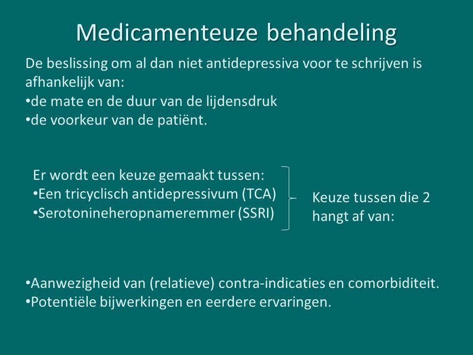 Medicamenteuze behandeling De beslissing om al dan niet antidepressiva voor te schrijven is afhankelijk van: de mate en de duur van de lijdensdruk de voorkeur van de patiënt.