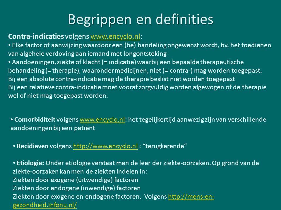Begrippen en definities Contra-indicaties volgens www.encyclo.nl:www.encyclo.nl Elke factor of aanwijzing waardoor een (be) handeling ongewenst wordt,