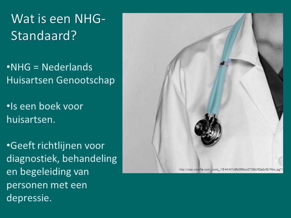 Wat is een NHG- Standaard? NHG = Nederlands Huisartsen Genootschap Is een boek voor huisartsen. Geeft richtlijnen voor diagnostiek, behandeling en beg