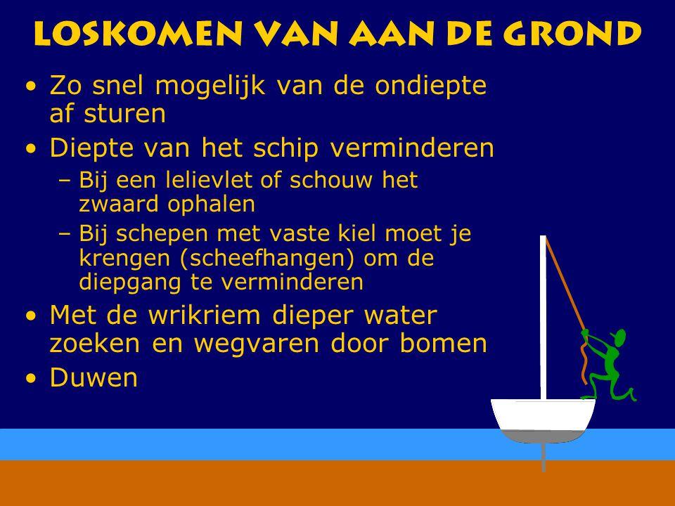 CWO Kielboot III101 Loskomen van aan de grond Zo snel mogelijk van de ondiepte af sturen Diepte van het schip verminderen –Bij een lelievlet of schouw