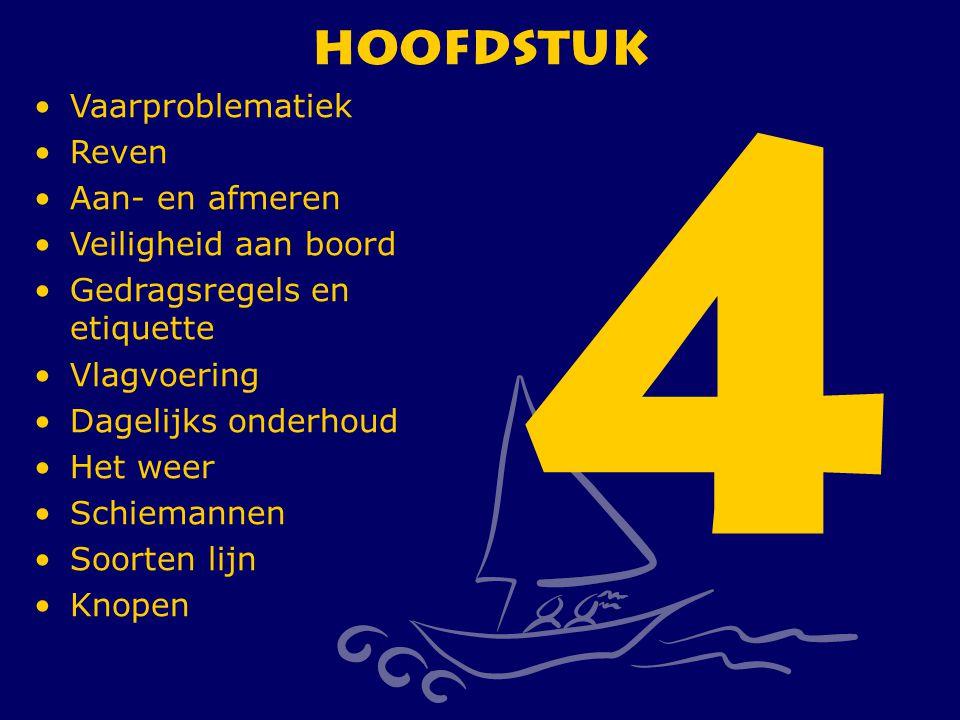 CWO Kielboot III169 Hoofdstuk 4 Vaarproblematiek Reven Aan- en afmeren Veiligheid aan boord Gedragsregels en etiquette Vlagvoering Dagelijks onderhoud