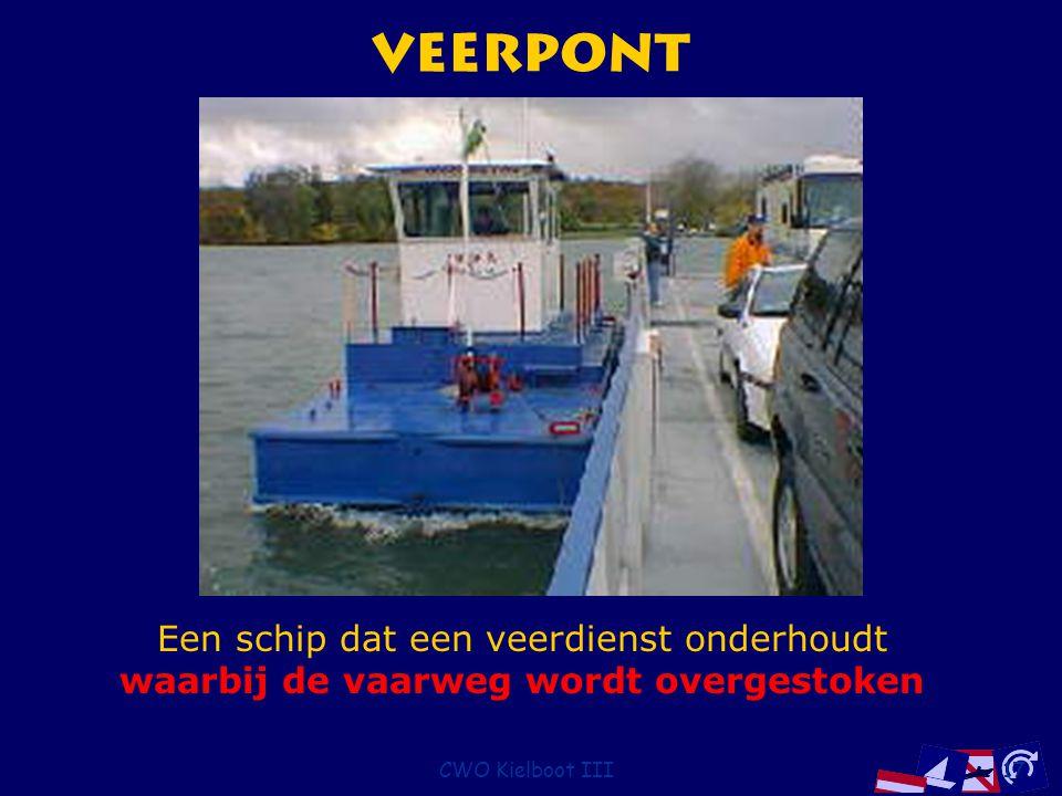 CWO Kielboot III17 Veerpont Een schip dat een veerdienst onderhoudt waarbij de vaarweg wordt overgestoken