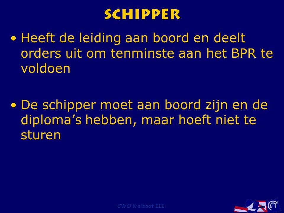 CWO Kielboot III7 Schipper Heeft de leiding aan boord en deelt orders uit om tenminste aan het BPR te voldoen De schipper moet aan boord zijn en de di