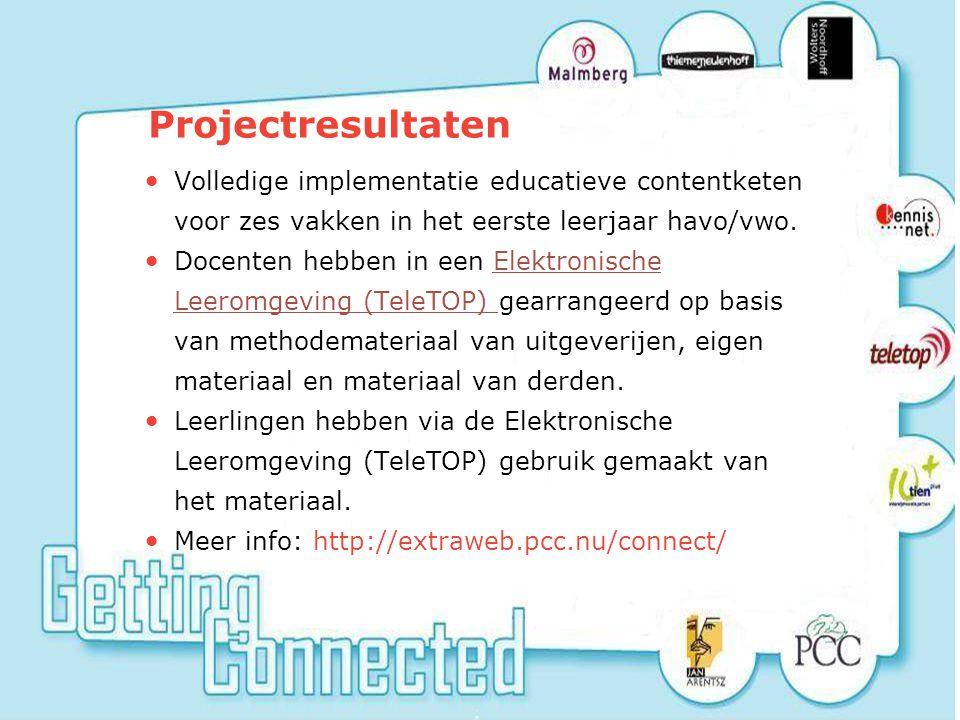 12 Projectresultaten Volledige implementatie educatieve contentketen voor zes vakken in het eerste leerjaar havo/vwo.
