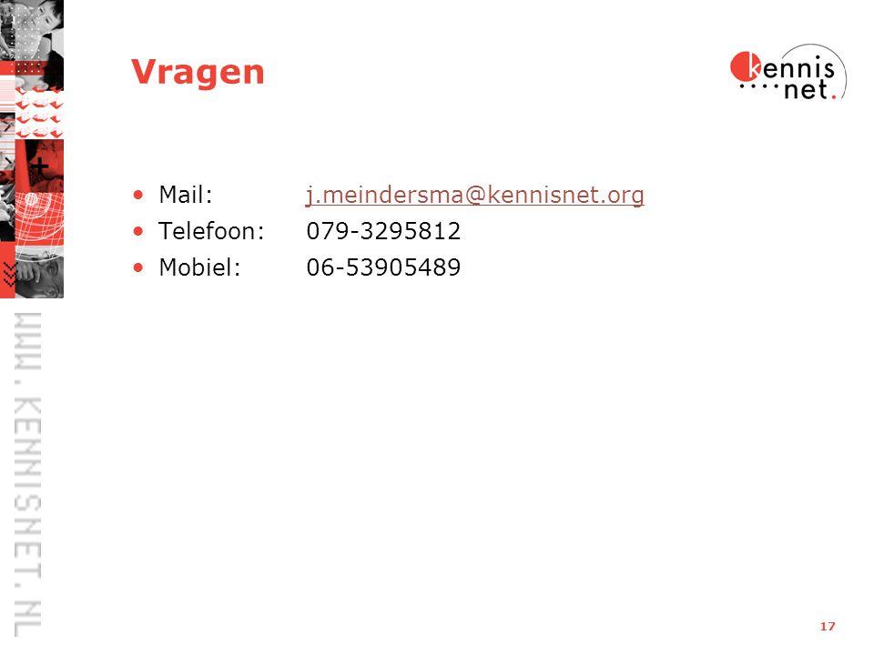 17 Vragen Mail: j.meindersma@kennisnet.orgj.meindersma@kennisnet.org Telefoon:079-3295812 Mobiel: 06-53905489