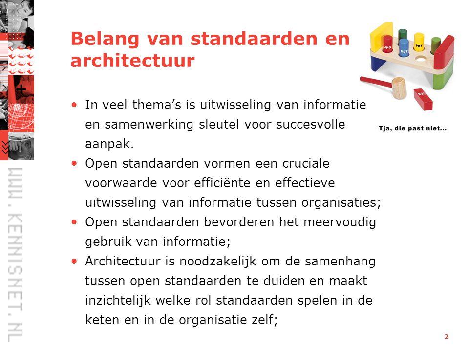 2 Belang van standaarden en architectuur In veel thema's is uitwisseling van informatie en samenwerking sleutel voor succesvolle aanpak.