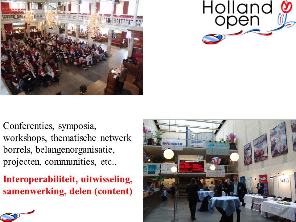 Conferenties, symposia, workshops, thematische netwerk borrels, belangenorganisatie, projecten, communities, etc.. Interoperabiliteit, uitwisseling, s