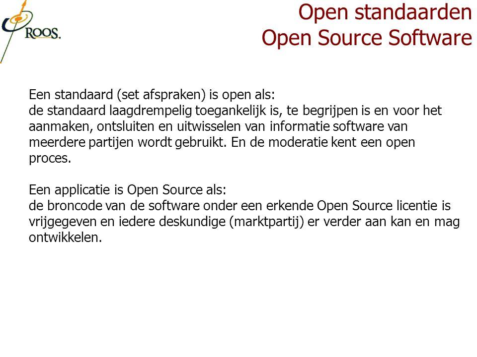 Een standaard (set afspraken) is open als: de standaard laagdrempelig toegankelijk is, te begrijpen is en voor het aanmaken, ontsluiten en uitwisselen