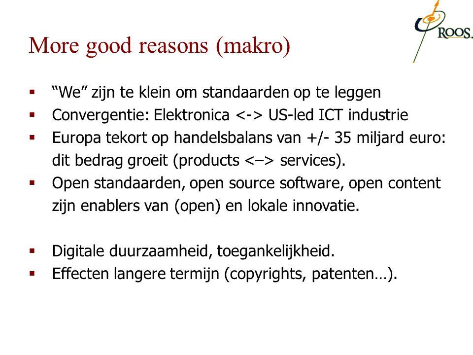 """ """"We"""" zijn te klein om standaarden op te leggen  Convergentie: Elektronica US-led ICT industrie  Europa tekort op handelsbalans van +/- 35 miljard"""