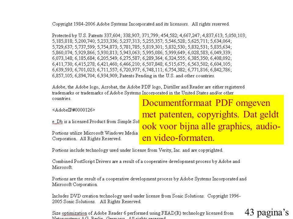 43 pagina's Documentformaat PDF omgeven met patenten, copyrights. Dat geldt ook voor bijna alle graphics, audio- en video-formaten.