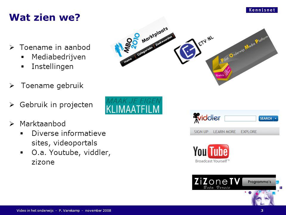 Vragen aan u:  Welke behoefte heeft u Ten aanzien van video, naar het onderwijs  Kent U het onderwijs.