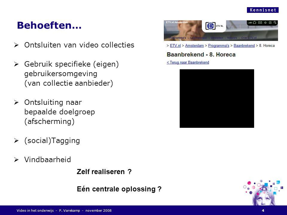 Videoplatform - functies  Afspelen (streaming, download)  Upload (mediafile, metadata)  Mediabeheer (metadata, transcoderen)  Zoeken  Autorisatie / Authenticatie  Statistieken 15Videodienstverlening november 2008