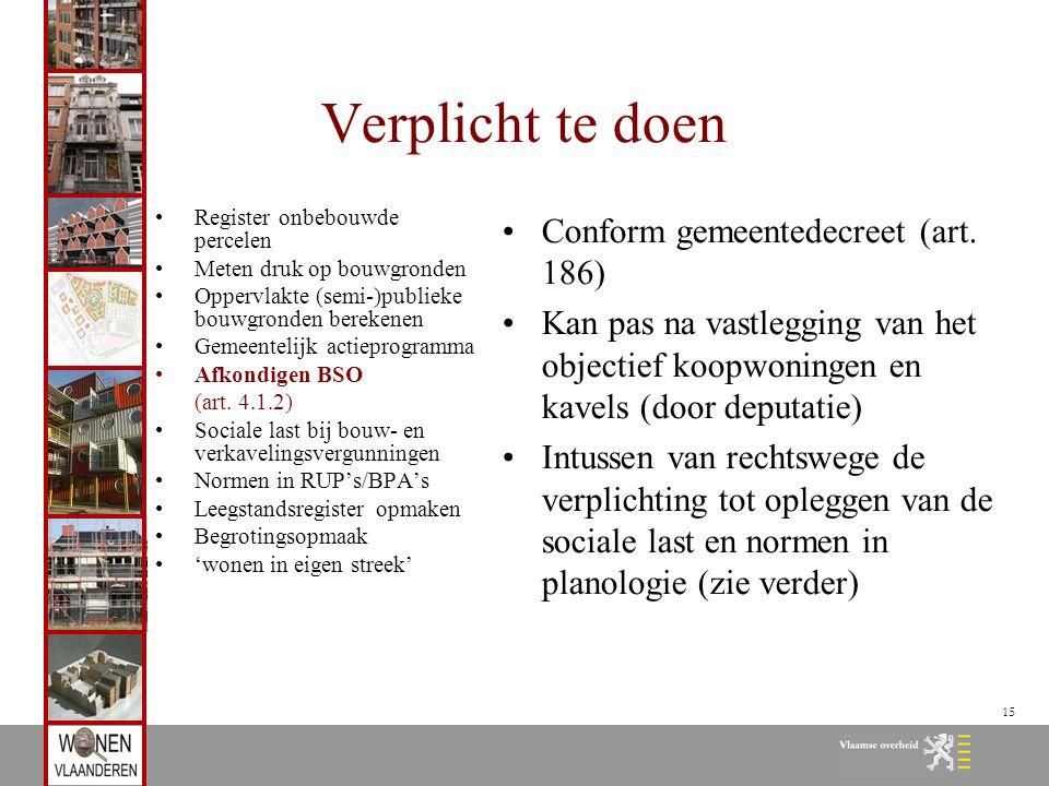 15 Verplicht te doen Register onbebouwde percelen Meten druk op bouwgronden Oppervlakte (semi-)publieke bouwgronden berekenen Gemeentelijk actieprogramma Afkondigen BSO (art.
