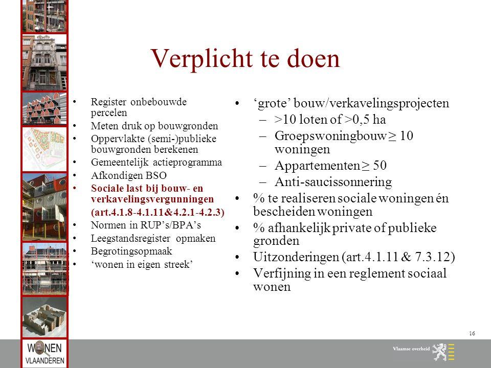16 Verplicht te doen Register onbebouwde percelen Meten druk op bouwgronden Oppervlakte (semi-)publieke bouwgronden berekenen Gemeentelijk actieprogra