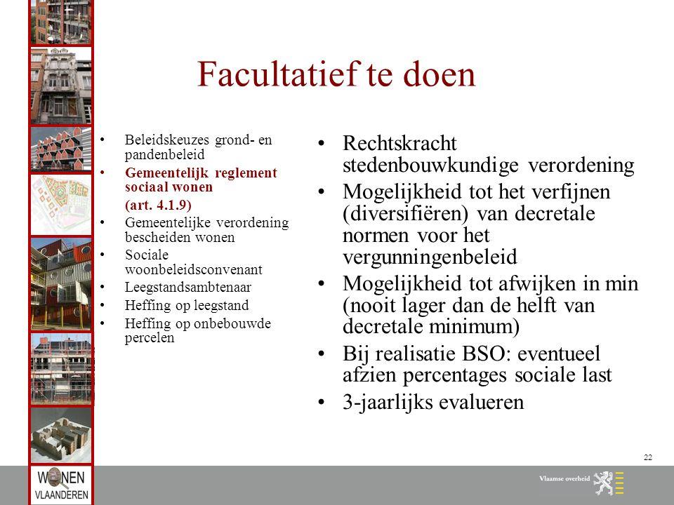 22 Facultatief te doen Beleidskeuzes grond- en pandenbeleid Gemeentelijk reglement sociaal wonen (art. 4.1.9) Gemeentelijke verordening bescheiden won