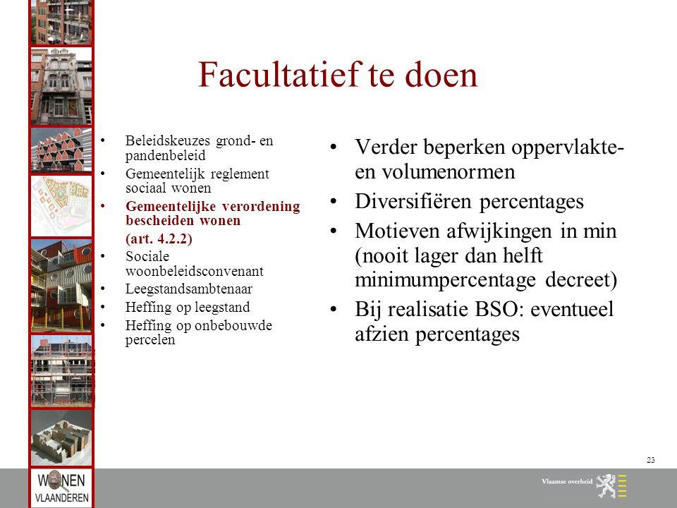 23 Facultatief te doen Beleidskeuzes grond- en pandenbeleid Gemeentelijk reglement sociaal wonen Gemeentelijke verordening bescheiden wonen (art. 4.2.