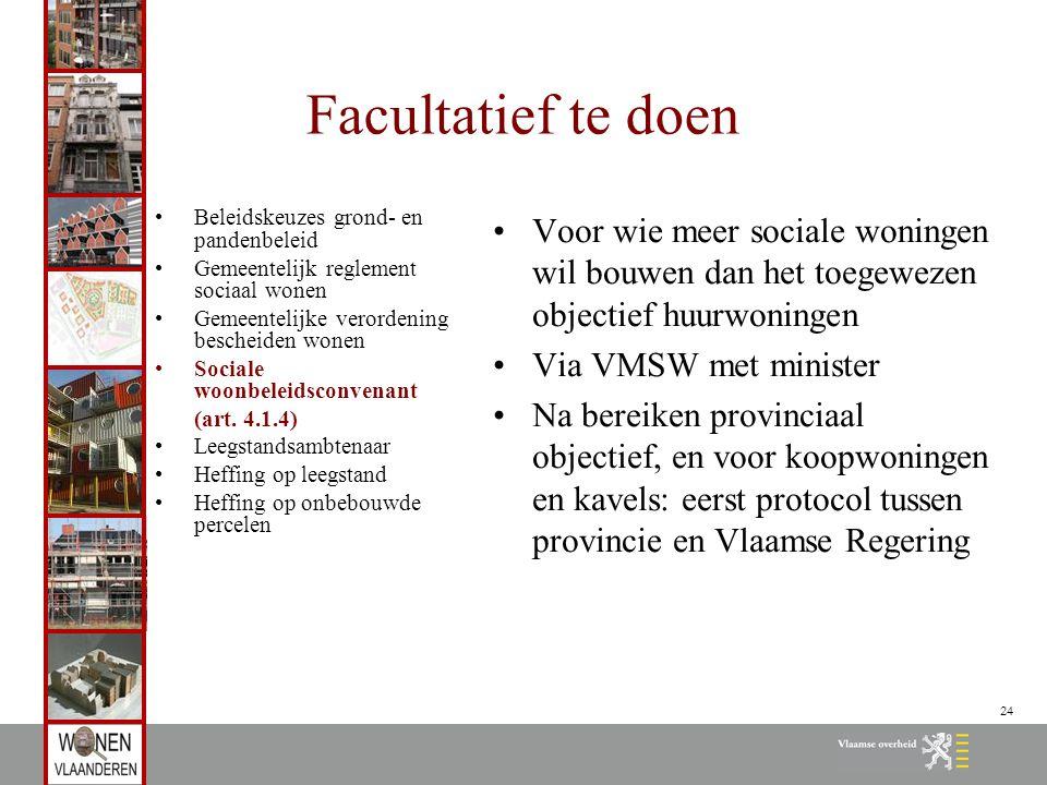 24 Facultatief te doen Beleidskeuzes grond- en pandenbeleid Gemeentelijk reglement sociaal wonen Gemeentelijke verordening bescheiden wonen Sociale woonbeleidsconvenant (art.
