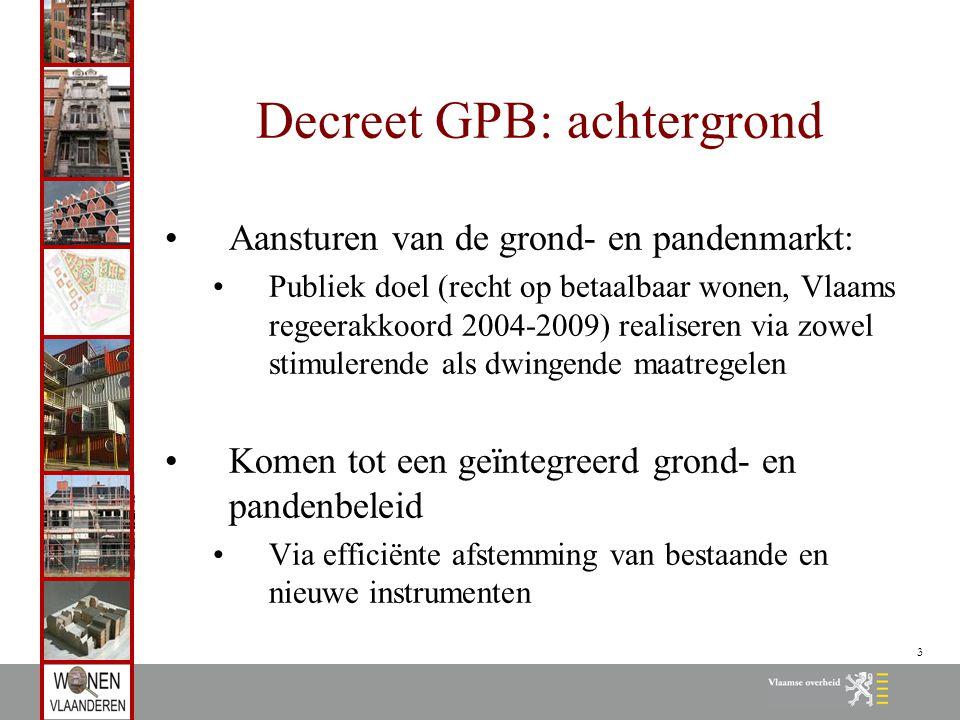 3 Decreet GPB: achtergrond Aansturen van de grond- en pandenmarkt: Publiek doel (recht op betaalbaar wonen, Vlaams regeerakkoord 2004-2009) realiseren