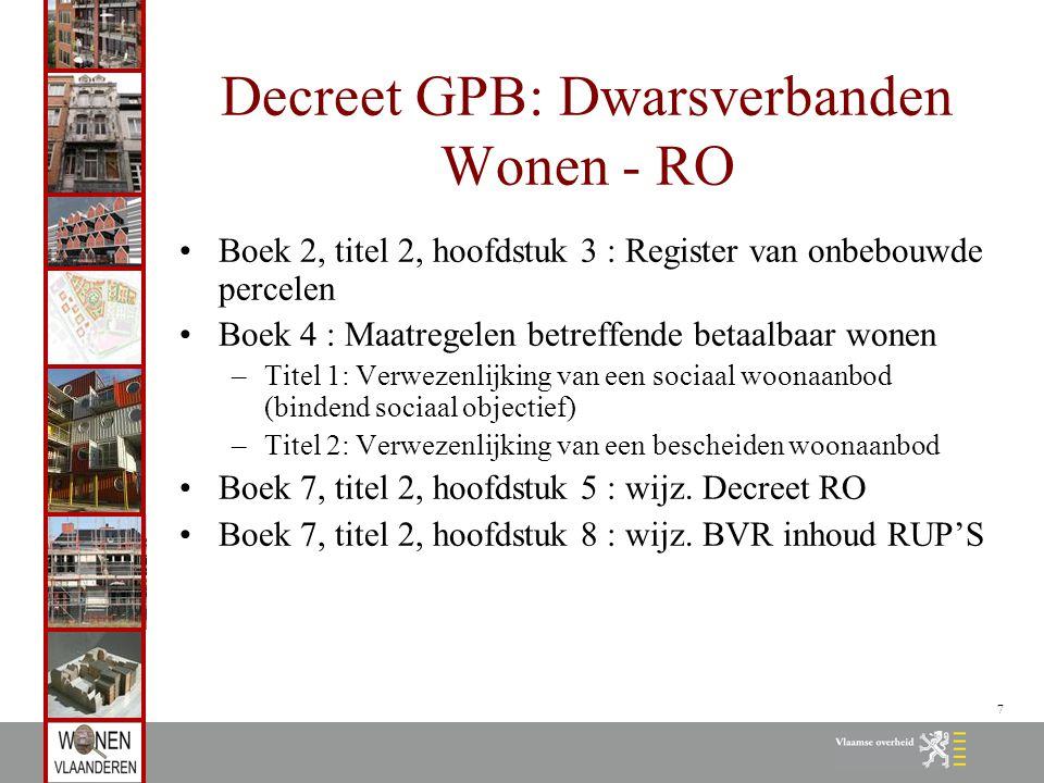 8 Vooraf: Bindend sociaal objectief Gemeentelijke omschrijving van sociaal woonaanbod te realiseren tegen 2020 Houdt voor de gemeentelijke overheid een rechtsplicht in om streefpercentage te halen Op basis van nulmeting (31.12.2007) Omvat drie luiken: sociale huurwoningen, sociale koopwoningen en sociale kavels Vanuit Vlaams macro-objectief verdeling over provincies op basis van huishoudenaantallen Huur: 8125; koop: 3846; kavels: 183