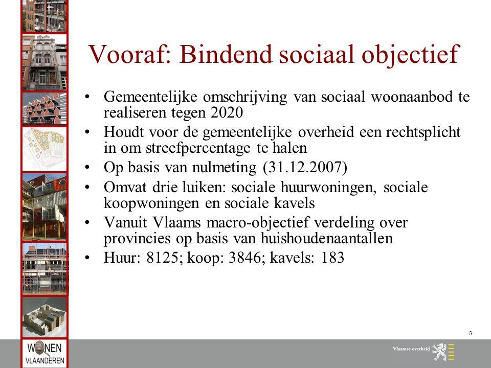 8 Vooraf: Bindend sociaal objectief Gemeentelijke omschrijving van sociaal woonaanbod te realiseren tegen 2020 Houdt voor de gemeentelijke overheid ee