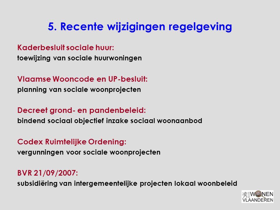 5. Recente wijzigingen regelgeving Kaderbesluit sociale huur: toewijzing van sociale huurwoningen Vlaamse Wooncode en UP-besluit: planning van sociale