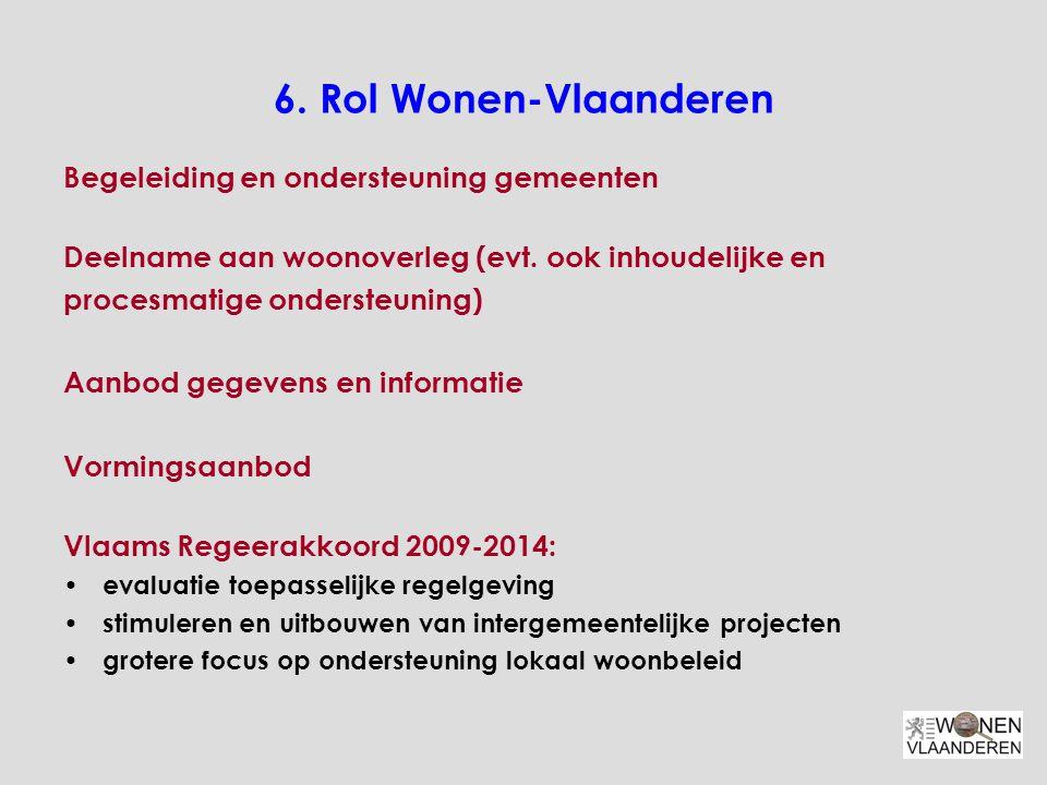 6.Rol Wonen-Vlaanderen Begeleiding en ondersteuning gemeenten Deelname aan woonoverleg (evt.