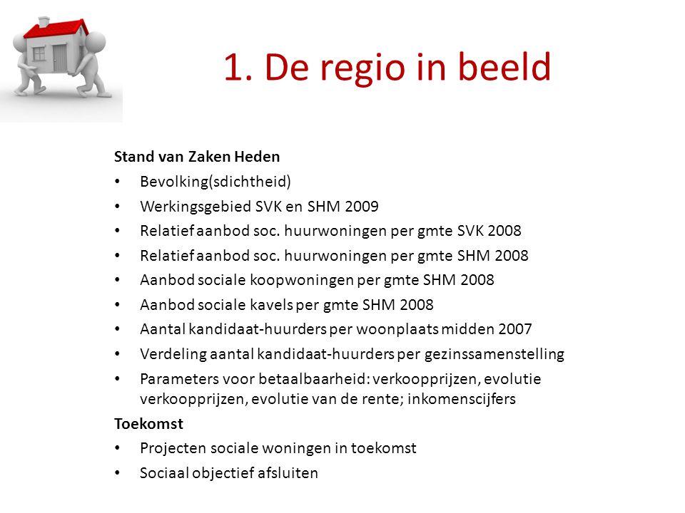 1. De regio in beeld Stand van Zaken Heden Bevolking(sdichtheid) Werkingsgebied SVK en SHM 2009 Relatief aanbod soc. huurwoningen per gmte SVK 2008 Re