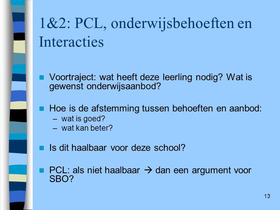13 1&2: PCL, onderwijsbehoeften en Interacties Voortraject: wat heeft deze leerling nodig? Wat is gewenst onderwijsaanbod? Hoe is de afstemming tussen