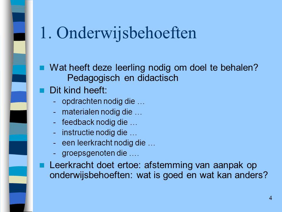 4 1.Onderwijsbehoeften Wat heeft deze leerling nodig om doel te behalen.