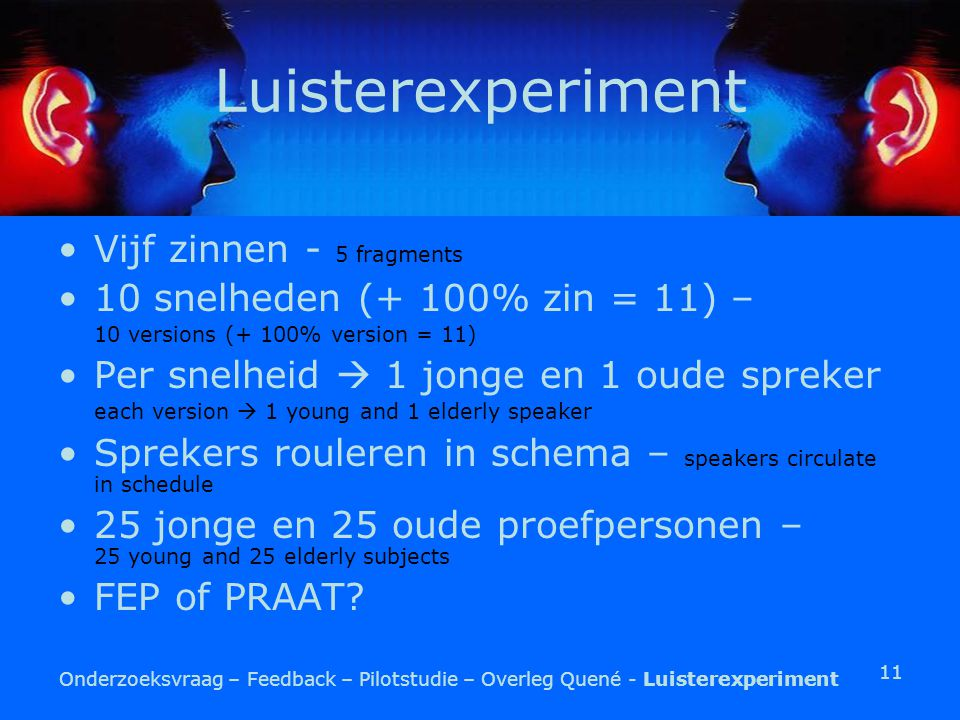 11 Luisterexperiment Vijf zinnen - 5 fragments 10 snelheden (+ 100% zin = 11) – 10 versions (+ 100% version = 11) Per snelheid  1 jonge en 1 oude spreker each version  1 young and 1 elderly speaker Sprekers rouleren in schema – speakers circulate in schedule 25 jonge en 25 oude proefpersonen – 25 young and 25 elderly subjects FEP of PRAAT.