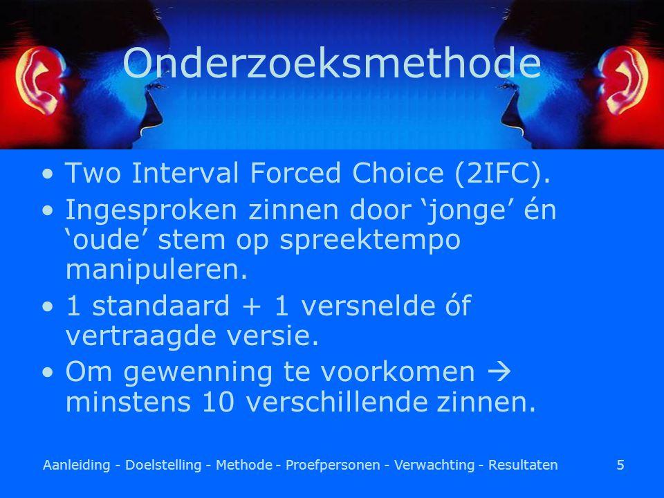 Aanleiding - Doelstelling - Methode - Proefpersonen - Verwachting - Resultaten5 Onderzoeksmethode Two Interval Forced Choice (2IFC).