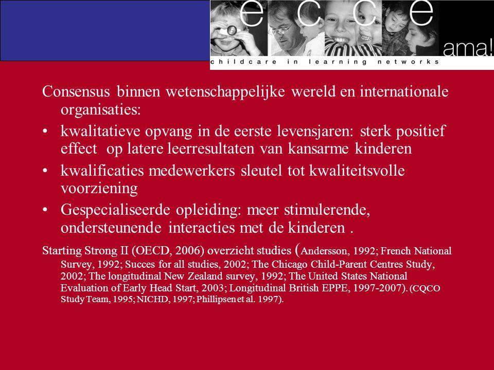 Consensus binnen wetenschappelijke wereld en internationale organisaties: kwalitatieve opvang in de eerste levensjaren: sterk positief effect op later