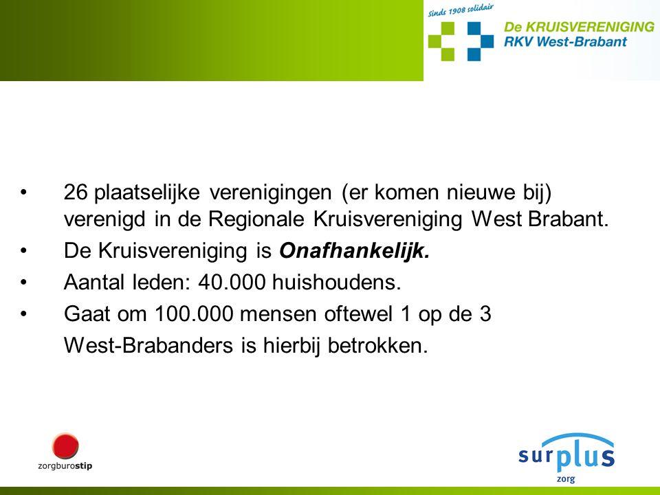 26 plaatselijke verenigingen (er komen nieuwe bij) verenigd in de Regionale Kruisvereniging West Brabant. De Kruisvereniging is Onafhankelijk. Aantal