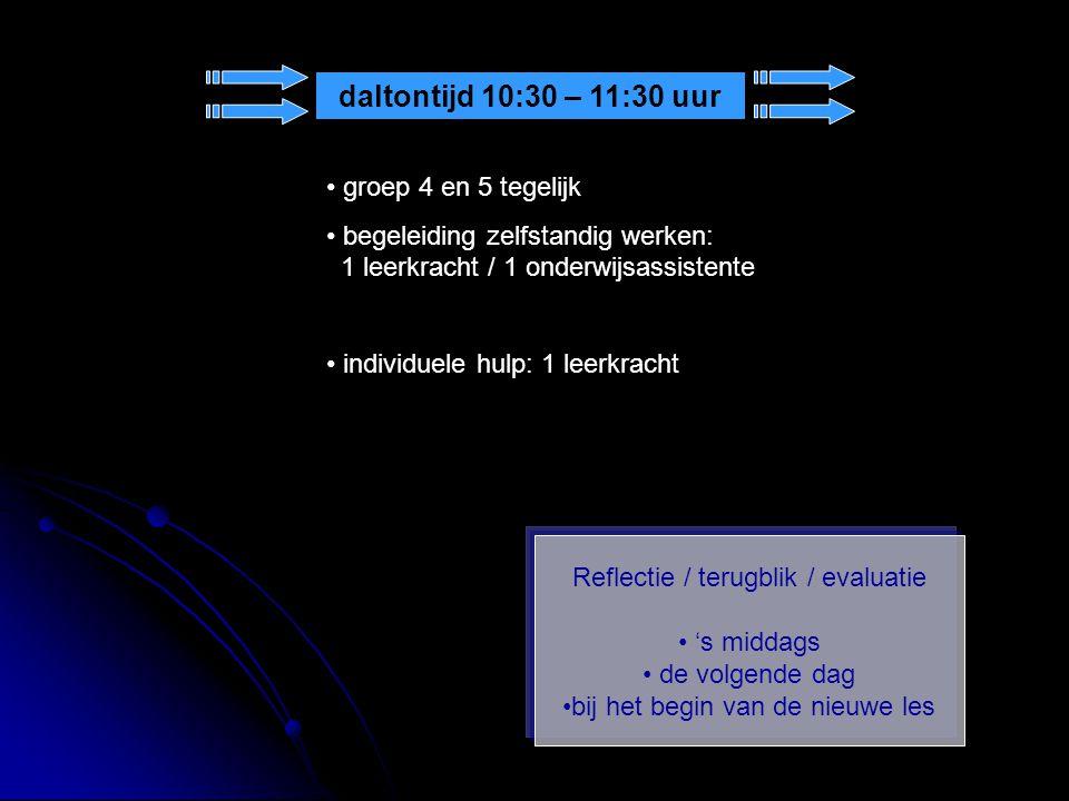 Reflectie / terugblik / evaluatie 's middags de volgende dag bij het begin van de nieuwe les daltontijd 10:30 – 11:30 uur groep 4 en 5 tegelijk begele