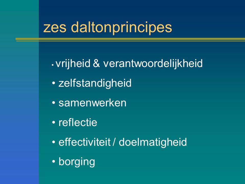 zes daltonprincipes vrijheid & verantwoordelijkheid zelfstandigheid samenwerken reflectie effectiviteit / doelmatigheid borging