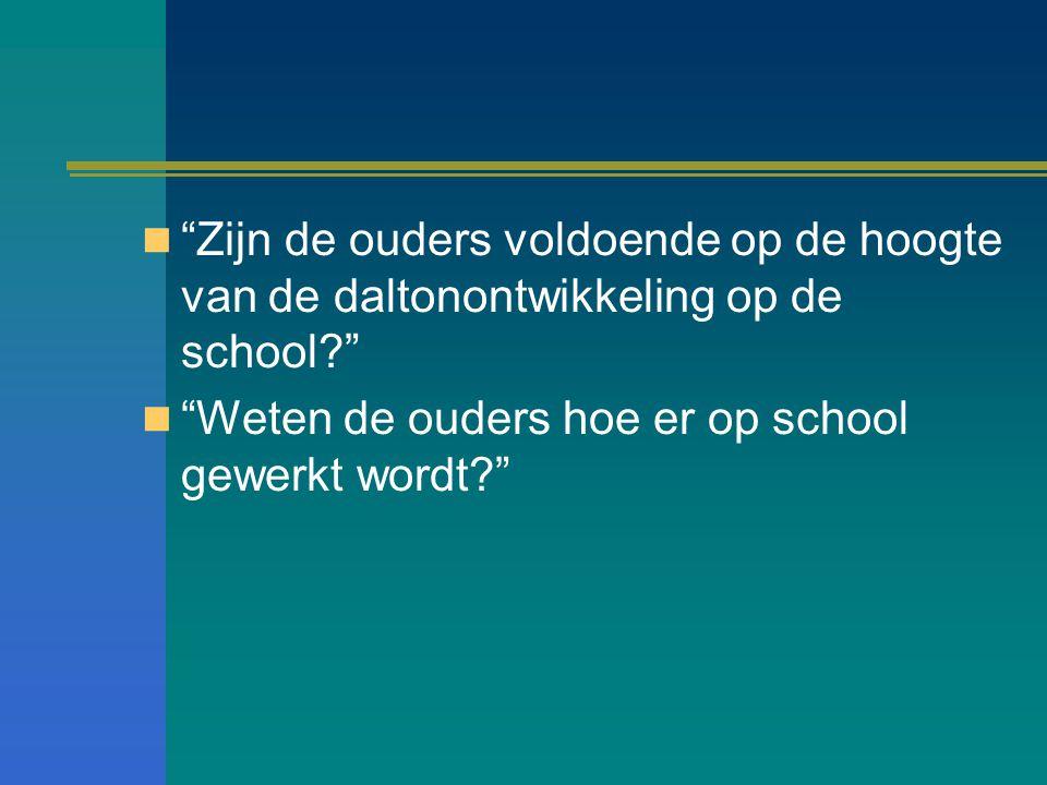 Zijn de ouders voldoende op de hoogte van de daltonontwikkeling op de school? Weten de ouders hoe er op school gewerkt wordt?