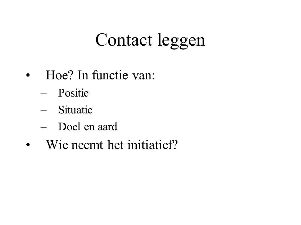 Contact leggen Hoe? In functie van: –Positie –Situatie –Doel en aard Wie neemt het initiatief?