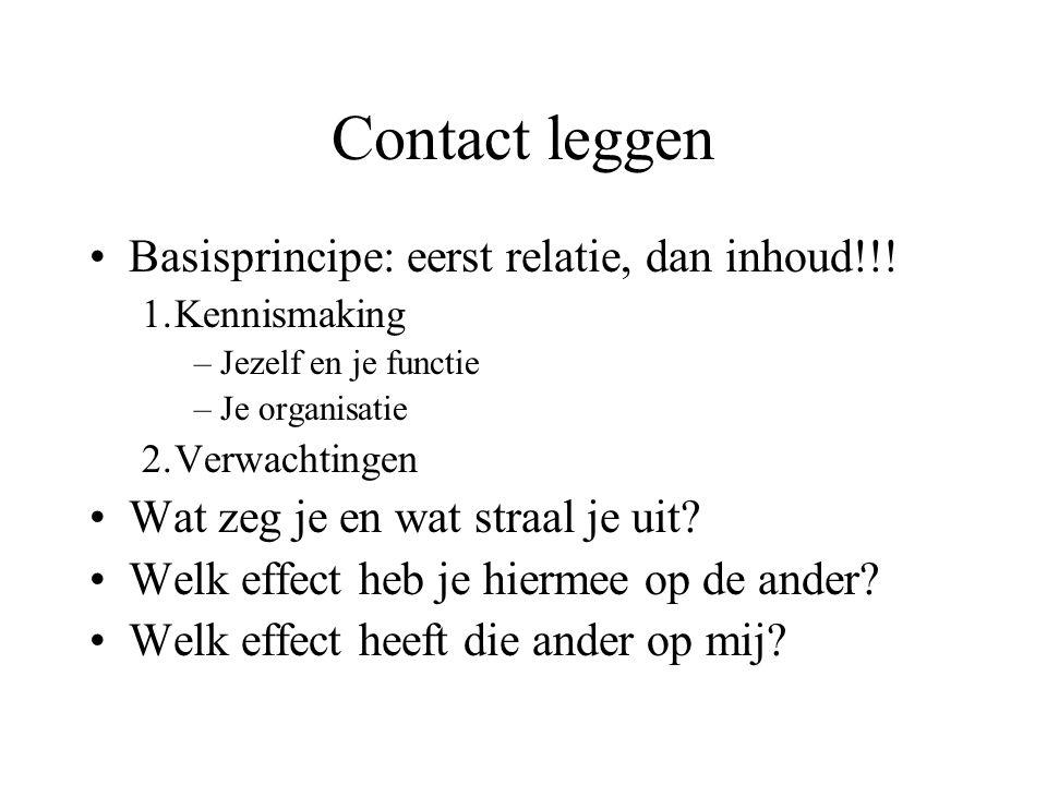 Contact leggen Basisprincipe: eerst relatie, dan inhoud!!.